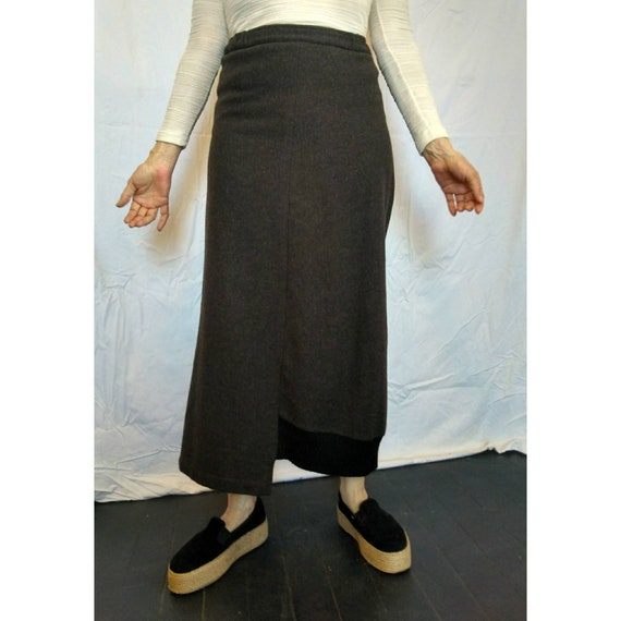 Superb Shirin Guild vintage deconstructed brown wool skirt Made in UK