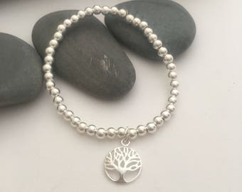 Sterling silver beaded bracelet with tree of life charm - tree of life bracelet - silver bracelet - 4mm sterling silver beads