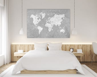 Grey world map etsy world map canvas print vintage neutral gray world map extra large basic gray wall art vintage gumiabroncs Image collections
