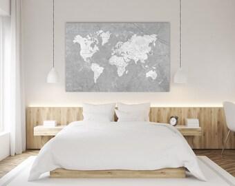 World map canvas print vintage gray ivory cream neutral world world map canvas print vintage neutral gray world map extra large basic gray wall art vintage gumiabroncs Choice Image