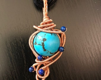 Turquoise Pendant, turquoise, copper and turquoise wire wrap, wire wrapped copper pendant, copper pendant, lapis lazuli,