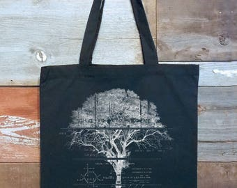 Tree Diagram & Schematics - Black Cotton Canvas Tote Bag