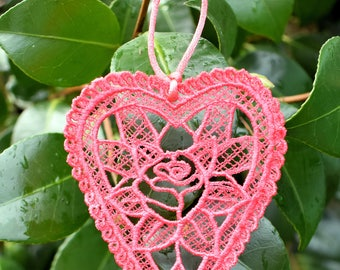Rose Lace Heart Ornament