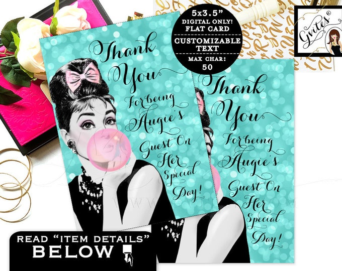 "Breakfast at Sweet 16 thank you cards Audrey Hepburn printable party note cards. Digital. {3.5x5"" 4 Per/Sheet}"