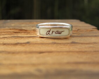 Draw Band Ring - Sterling Silver and Vitreous Enamel Script Ring - Ring for Artists and Illustrators