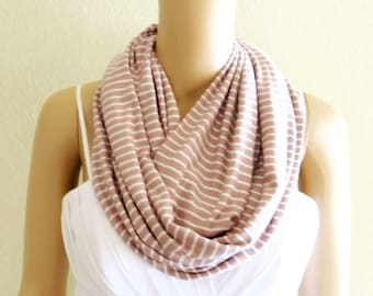 White And Dark Dusty Rose Stripe Circle Scarf. Stripe Infinity Scarf. Soft Cotton Loop Scarf.
