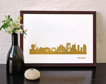 Gold MILANO artwork, art print MILANO, gold Milano skyline poster, honeymoon in Milano, custom gold poster MILANO, Italy, home office decor