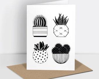 Cactus greetings card (risograph printed)
