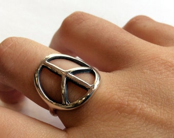 sterling silver ring, peace symbol ring, unisex peace ring, simple ring, peace symbol, statement ring, casual ring - Life in Peace R2157