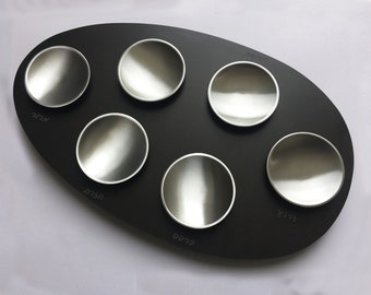 Granite porcelain seder plate with aluminum and four additional dishes