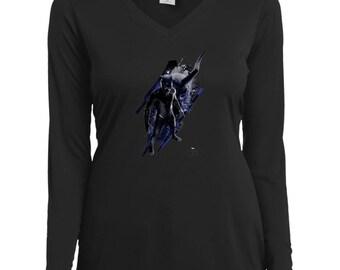 Marvel Black Panther Vs Kilmonger T Shirt Ladies Long Sleeve V-Neck T-Shirt