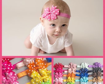 CLEARANCE set Baby headbands, 20 colors, 3 inch bow, bow headband, big bows, infant headbands, baby headband, baby gift, girl gift, new baby
