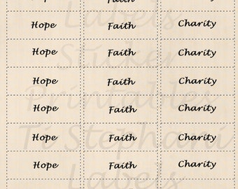 Hope Faith Charity, 30 Labels, Stickers in Natural Tan, Encouragement Notes, Positive Reminders, Day Planner, Scrapbooking and Crafts