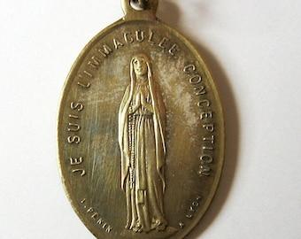 Antike Unbefleckte Jungfrau signiert außerdem Lyon Französisch religiösen Medaille Anhänger