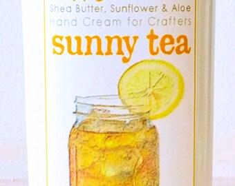 Scented Shea Butter Hand Lotion - Sunny Lemon Tea Light Citrus Unisex Fragrance - Hand Cream for Knitters Happy Hands Knitting