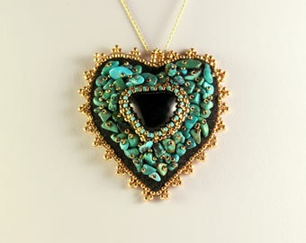 Onyx and turquoise pendant