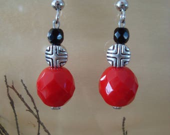 Earrings, red, silver and black