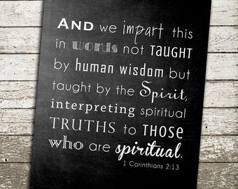 Bible Verse Wall Art Print - Scripture from 1 Corinthians 2:13 - Gift for Pastor, Sunday School Teacher