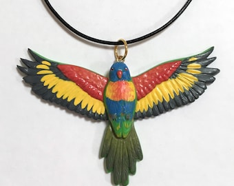 Rainbow Lorikeet Flying Bird Necklace, Bird Lover Gift, Bird Pendant Wearable Bird Sculpture