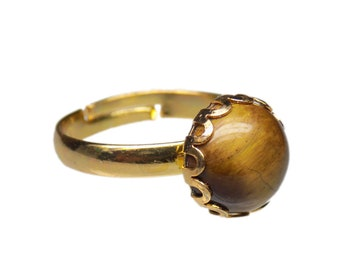 10mm Round Genuine Tigers Eye Gemstone Cabochon Gold Plated Adjustable / Expandable Ring