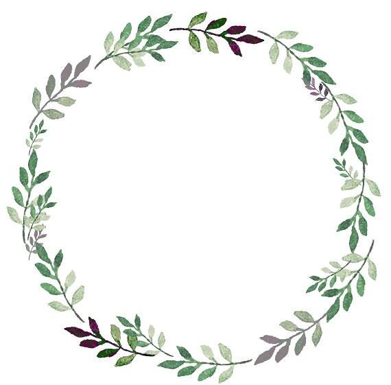 greenery clipart leafy wreath green purple watercolor wreath rh etsy com wreath clip art black and white wreath clipart black and white