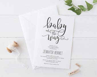 Printable Baby Shower Invitation, Black And White Baby Shower Invitation,  Calligraphy Script Font Baby Shower Invitation, Baby On The Way