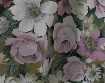 Beautiful finest quality vintage Sanderson 'Ascot' print cotton curtains, handmade, fully lined in lovely floral design