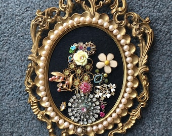 Vintage Jeweled Oval Framed Bouquet of Flowers Picture
