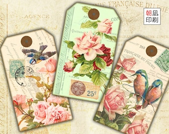 Printable Vintage Shabby Chic Hang Tags with roses and birds for paper crafting digital collage sheet instant download - T001