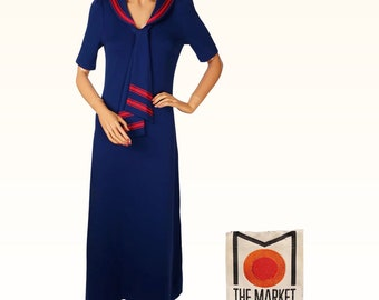 Vintage 1970s Blue and Red Maxi Dress Sailor Style by The Market - Size M