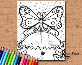INSTANT DOWNLOAD Coloring Page -  Space Butterfly, doodle art, printable