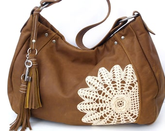 Brown Leather Hobo Bag with Tassels, Vintage Crochet Lace Doily and Antique Key - XL Matte Leather and Lace Boho Bag - READY to SHIP