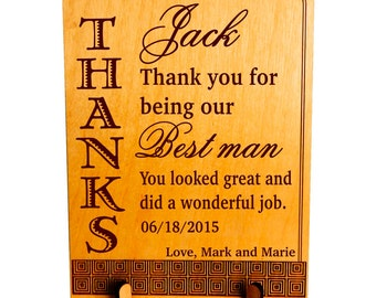 BestMan-Groomsmen Wedding Thank You Gifts from Couple, Custom Wedding Crew Plaque Gifts, Personalized Appreciation Wedding Favors. PWP001
