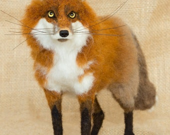 Made to Order Needle Felted Red Fox: Custom needle felted animal sculpture