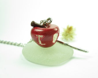 Sherlock necklace BBC Sherlock Holmes IOU Apple Necklace - Sherlock apple necklace jewelry IOU necklace apple food polymer clay (apple N1)