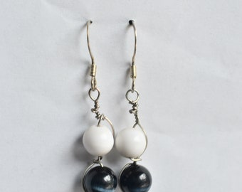 Black and White Wire Wrapped Earrings