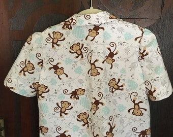 Short-Sleeve Playful Monkey Girl's Shirt