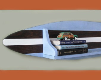 4 Foot Wood Surfboard Shelf in Blue Dark Wood and White