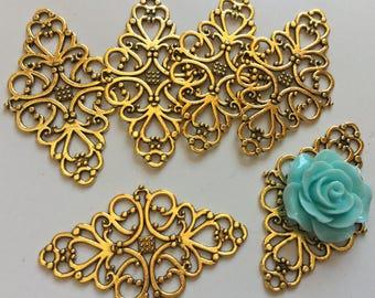 Nickel Free...10 pcs Antique Golden Filigrees,flower Wrap,antique golden connector,golden link,antique gold filigree,gold filigree,gold link