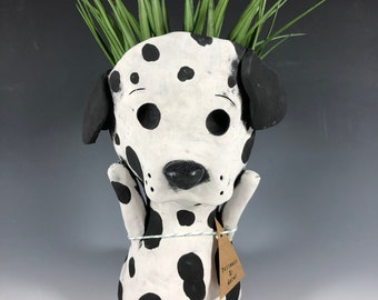 Casper the Pup // Small Sculpture // Planter // Pothead // Dalmation // Dog // Ceramic // Succulent Pot // Adorable // Home Decor // Gifts