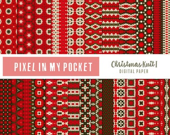 Red, Green & White Christmas Knit I Digital Patterned Paper Pack [Instant Download]
