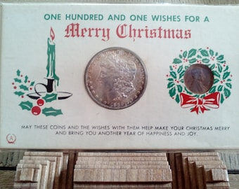 1886 Morgan Dollar and 1964 penny for 101 Wishes for a Merry Christmas... Vintage