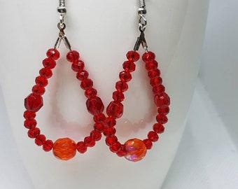 Red tear drop earrings, Beaded earrings, Red crystal earring, Special red earrings, Hoop earrings, Mother day gift , Friend gift