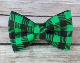Green Plaid Dog Bow Tie / Plaid Cat Bow Tie / Black Pet Bow Tie / Removable Collar Bow Tie Attachment / Dapper Dog Bow Tie / Green BowTie