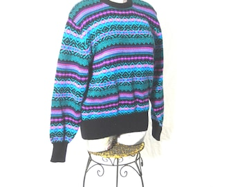 Vintage Meister Nordic Geometric Pullover Ski Sweater - Size Large