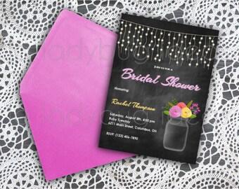 Floral and Chalkboard Printable Bridal Shower Invitation,Wedding Invitation