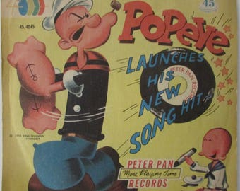 Vintage 1958  Popeye Launches His New Song Hit Record  Peter Pan Records  King Features Syndicate