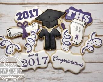 Graduation Cookies - High School Graduation - College Graduation - Cap and Gown Cookies - Grad Cookies - Congratulations Cookies