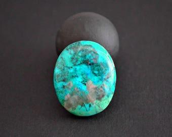 Chrysocolla natural stone cabochon 25 x 21 x 6 mm