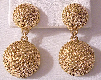 Double Swirl Chain Bead Clip On Earrings Gold Tone Vintage Blanca Extra Large Round Domed Imprinted Dangles Brushed Backs